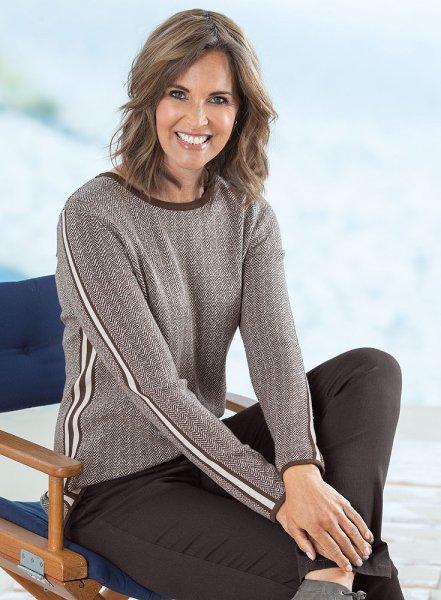 Lebek Damen Jacquard-Pullover