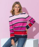 Rabe Blockstreifen-Pullover marine/pink/weiß D: 36