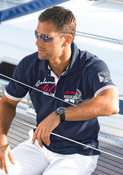 Capt. Scott Poloshirt mit maritimen Druck und Stickerei