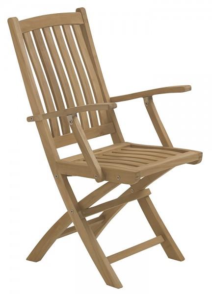 Składane krzesło z drewna teakowego z podłokietnikiem