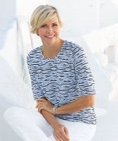 Lebek Damen Jacquard-Shirt bleu/marine/weiss D: 36