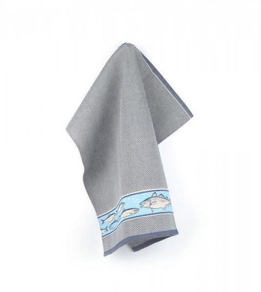 Tea towel Fish navy blue 65x65cm