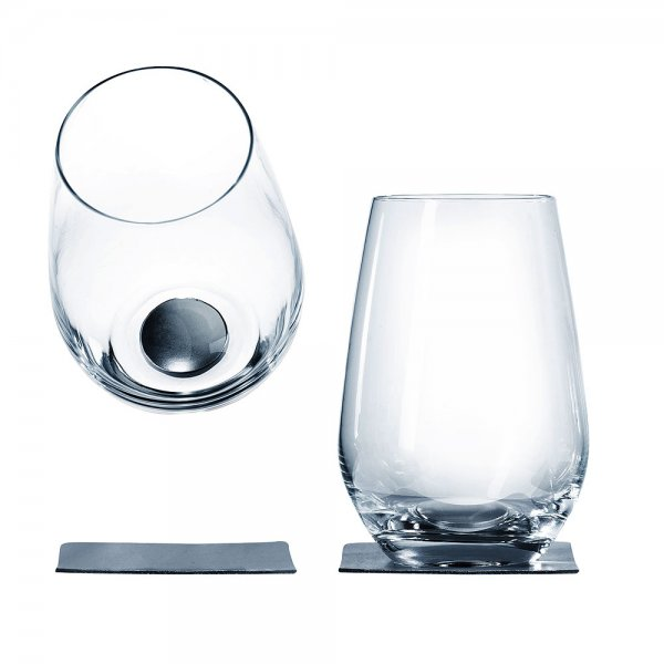 Long drink glass with magnet, set of 2