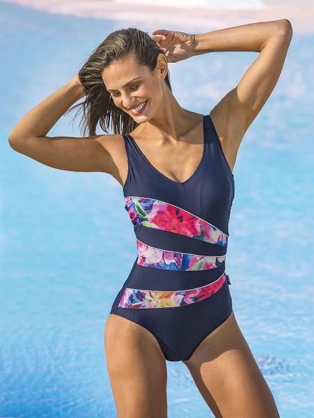 Badeanzug mit floralen Streifen