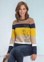 Betty Barclay Blockstreifen-Pullover marine/gelb D: 36