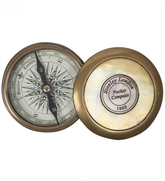 Antiker Kompass im Lederetui