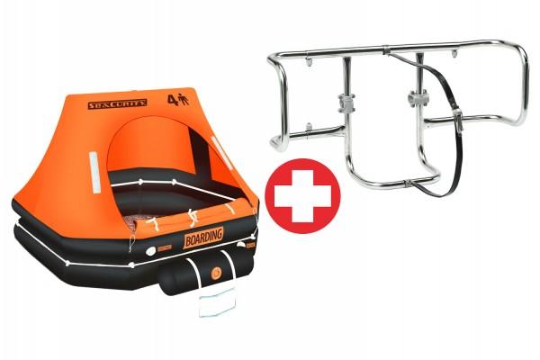 SeaCurity Liferaft 4P + Holder Set
