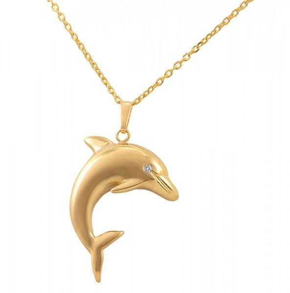 Delphinanhänger Gelbgold