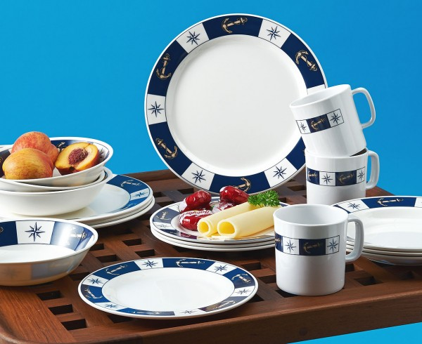 Gimex Boat Crockery (20 pcs.) with Anchor and Compass Logo