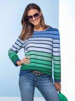 Rabe Damen Streifenpullover marine/grün D: 36