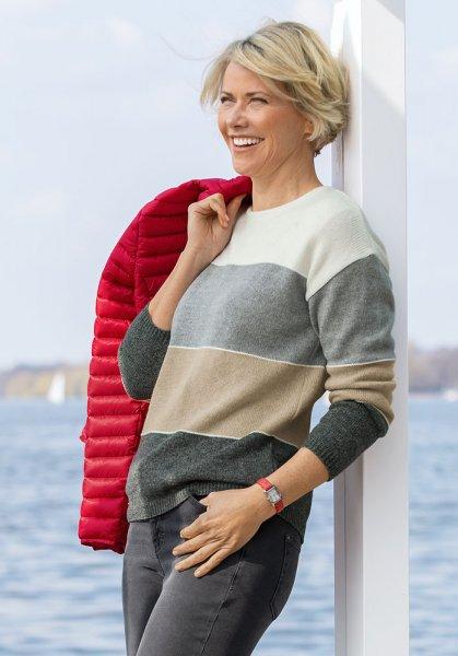 Serafini Damen Blockstreifen-Pullover