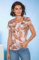 Damen Druckshirt wash&go weiss/braun D: 36