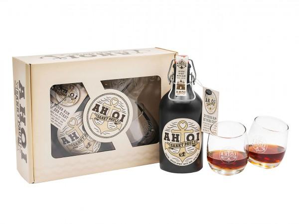 Ahoi Rum Set / 500ml + 2 Gläser in Geschenkverpackung