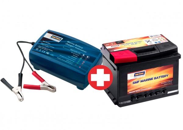 SET VETUS Batterie 60 Ah + VETUS 12 V Ladegerät