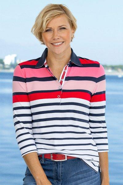 Hajo Damen Streifen-Poloshirt