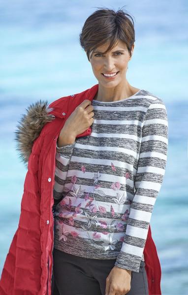 Bianca Streifen-Pullover, Langarm