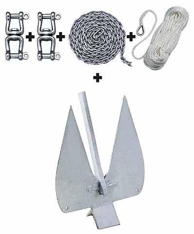 Anker Set: Plattenanker + 2 Wirbelschäkel + Kettenvorlauf + Ankerleine