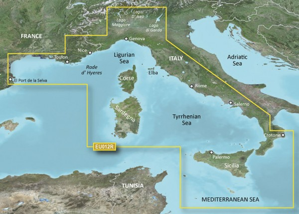 Garmin BlueChart g2 HXEU012R - Italië, westkust HEU012R - Mediterranean Sea, Central-West