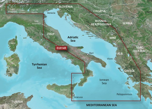 HXEU014R Italie Mer Adriatique / Italy Adriatic Sea - Garmin g2 Bluechart EU014R Italie, Adriatique