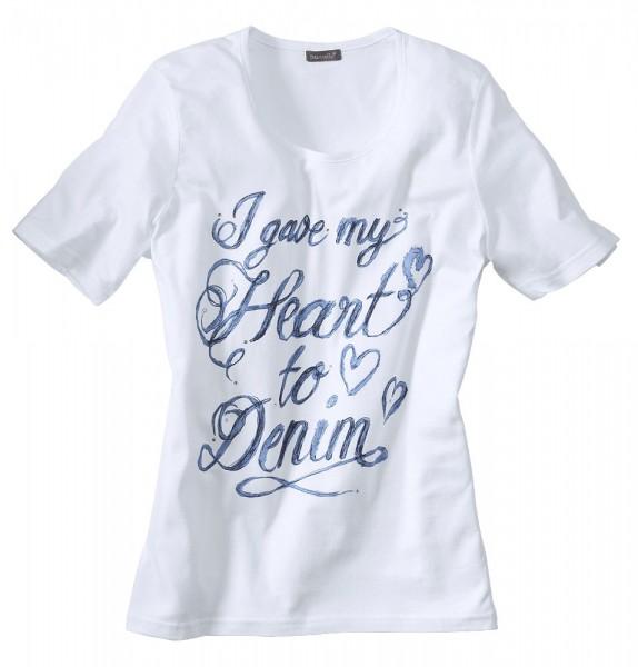 Shirt mit Frontprint und Strass