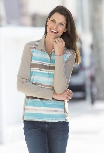 Hajo Poloshirt mit Streifen-Dessin