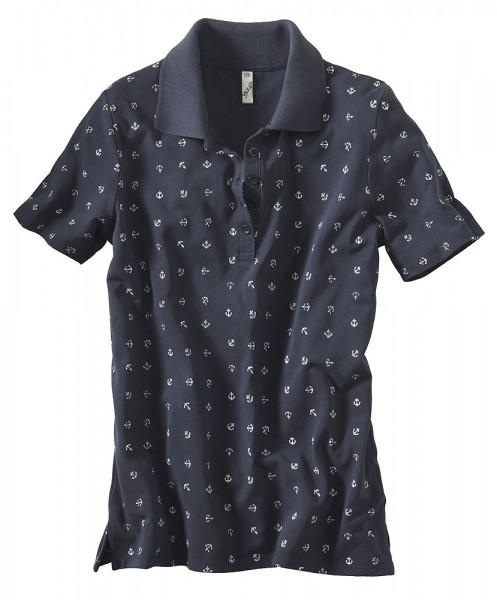 Pikee-Poloshirt, Alloverdruck